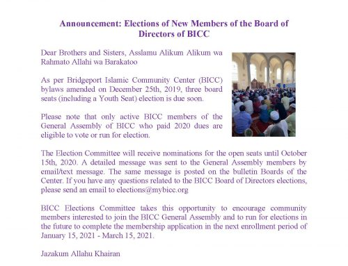 Announcement: Elections of New Members of the Board of Directors of BICC